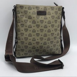 Authentic MCM Brown & Tan Messenger Crossbody Bag